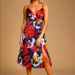 LULUS All About Love Royal Blue Floral Midi Dress